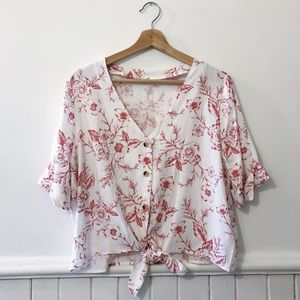 Simon's Contemporaine Floral White and Red Blouse